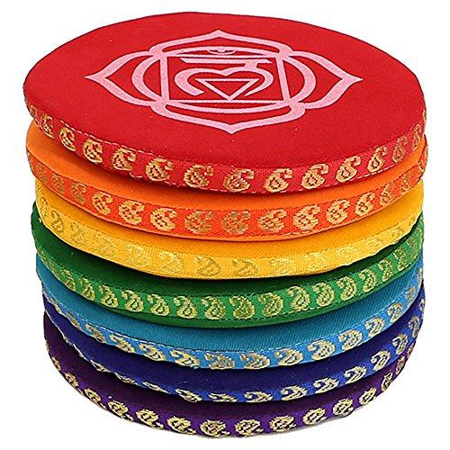 Klangschalenkissen 7 Chakren verschiedene Größen (14,5cm Durchmesser)