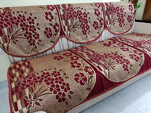 Griiham Sofa Cover Unique Floral Design Maroon - (3+1+1) 90% Cotton 10% Polyster AT04