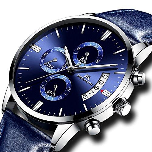 Herren Uhren Männer Wasserdicht Sport Militär Chronograph Lederband Armbanduhr Luxus Mode Datum Kalender Analog Quarz Blau Uhr