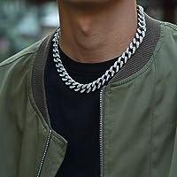 Collana a catena cubana da 13 mm, stile hip hop, con strass e chiusura in zirconia cubica, da uomo, rapper, alla moda