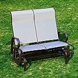 Outsunny Gartenbank mit Schaukelfunktion, 2-Sitzer, für Garten/Terasse, aus Textilene und Aluminium
