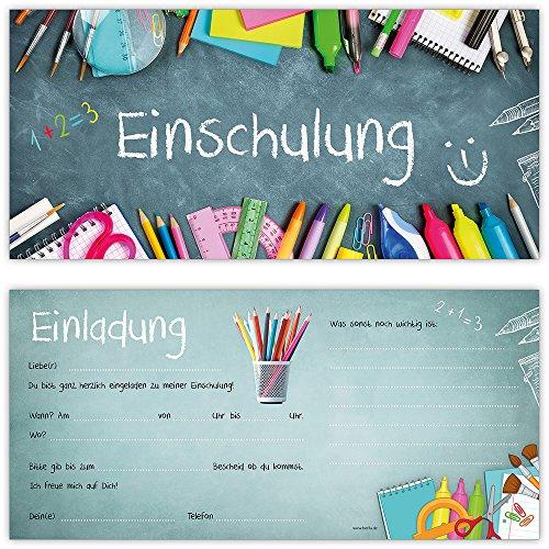beriluDesign Einschulung Einladungskarten mit Umschlägen (12er Set) Zum Schulanfang | Liebevoll Gestaltete Einladungen für Kinder Zum Schulbeginn - 2