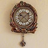 OLILEIO Vintage Antik Art Kreativ Clock Pendeluhr Watch Classic Luxury Home Wohnzimmer Wanduhr (40 * 46 Cm)