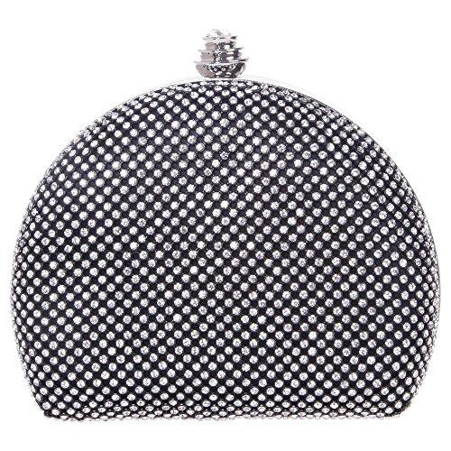 Damen Clutch Abendtasche Handtasche Geldbörse Glitzertasche Strass Kristall Halbkreis Tasche mit wechselbare Trageketten von Santimon(3 Kolorit) Schwarz