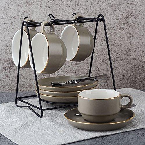 Besteck Keramik Kaffee Kaffeeservice Austragsrechen einfache Cappuccinocup mit Saucer 145ml, grau...