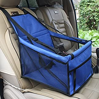 Waterproof Breathable Pet Car Mat Safety Car Seat Belt Cover Booster Bag Pet Carrier Seat Protector Travelling Car Cushion for Dog Cat Pet (Blue) 61 2Br0as5 lL