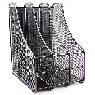 ABN Finest Magazine File Holder Rack, Paper Book Organiser for Desk, Mesh 3 Tier Metal Storage Stand - Black