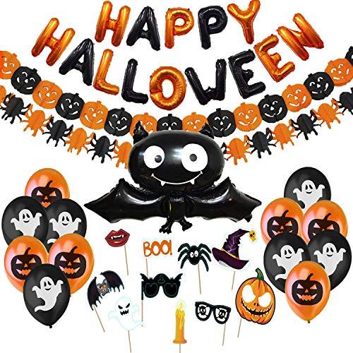 Hallowen Decorazioni Halloween Kit Casa - Festone di Palloncini Happy Halloween, Pipistrello Gigante, Ghirlande Di Zucche e Ragni, Foto Booth Props Halloween e Palloncini Neri e Arancioni