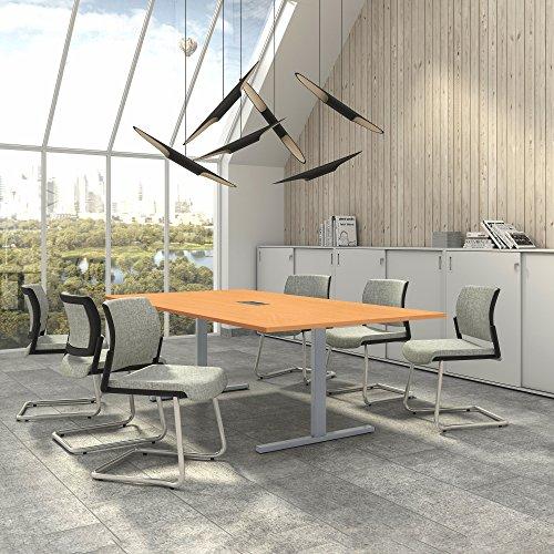 Weber Büro EASY Konferenztisch 240x120 cm Buche mit ELEKTRIFIZIERUNG Besprechungstisch Tisch,...