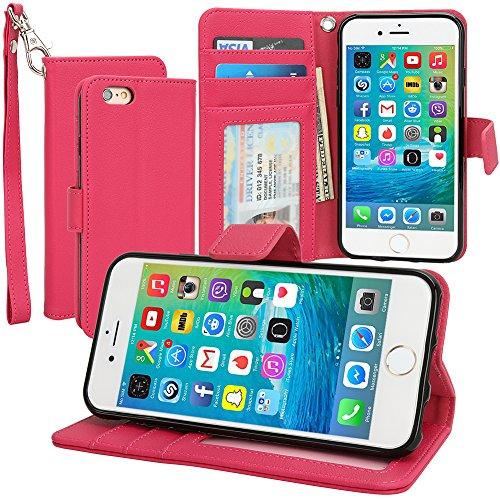 """Evecase iPhone 6 Portafoglio custodia in PU pelle con supporto per Apple iPhone 6 4.7"""" Smartphone, colore: Rosa"""