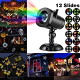 SUGIFT LED Projector Light, Christmas Projector Lights with 12 Switchable Patterns/Slides,Waterproof Landscape Projector Lamp, Outdoor/Indoor for Halloween, Christmas, Holiday, Party, Garden Decoration