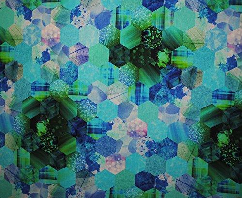 3 m * 1,4 m - Stoff - Baumwollstoff - Kristall Fantasie Muster - türkis BLAU / grün - 50er & 70er Jahre Stoffe - Meterware - sehr strapazierfähig ! Kleiderstoff / Dekostoff / Bettwäsche u.v.m. - 100 % Baumwolle - für Vorhänge / Gardinen / Möbel - Möbelbezugsstoff- Design / Shabby Chic / Holz Kisten - Nostalgie - Tischdecke (Polsterstoff Vorhang)
