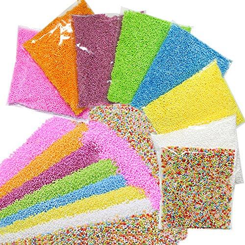 ZesGood, set di 8 confezioni di palline colorate in polistirolo espanso, vari diametri (da 0,2 cm a 0,8 cm circa), perfette per slime e feste di nozze