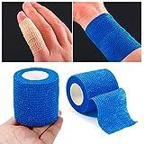 YMCHE selbst den kohäsive Verbände, Selbst Den Wickeln Tape, Selbst haftende Stick Sticky Bandage, 1Rolle, Blau, 5cm*5m