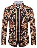 WHATLEES Herren Langarm Druckmuster Hemd - Dress Shirt mit Stehkragen und Luxus Barock Stil B702-16-L