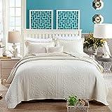 Unimall 4394285 gesteppt Tagesdecke Sommer Beige Doppelbett Bettüberwurf Unifarbe mit schöner Karo-Steppung 250cm x 270cm inkl. 2 Kissenbezüge