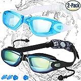 Occhialini da Nuoto, Confezione da 2, COOLOO Antiappannamento Antigraffio UV 400 Impermeabili Occhialini da Nuoto per Adulti, da Uomo e da Donna, per Ragazzi e Bambini, Lenti Specchiati e Trasparenti, Nero e Azzurro