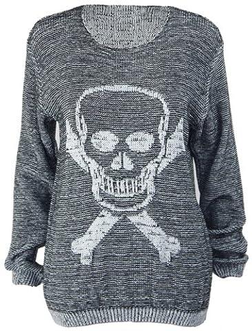 New Ladies Skull Crossbones Long Sleeve Womens Knitted Boyfriend Crew