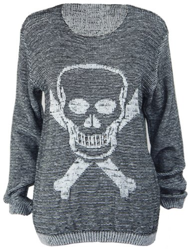 New Ladies Skull Crossbones Long Sleeve Womens Knitted Boyfriend Crew Neck Jumper Top Size 8 10