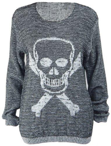 New Ladies Skull Crossbones Long Sleeve Womens Knitted Boyfriend Crew Neck Jumper Top Size 8 10