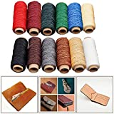Pawaca 12 Farbe Wachs Gewinde, 50 Mt/164FT/Rolle 1mm Leder Flach gewachst Gewinde für DIY Handwerk Leder Reparatur, Buchbinden, Nähen, zelte