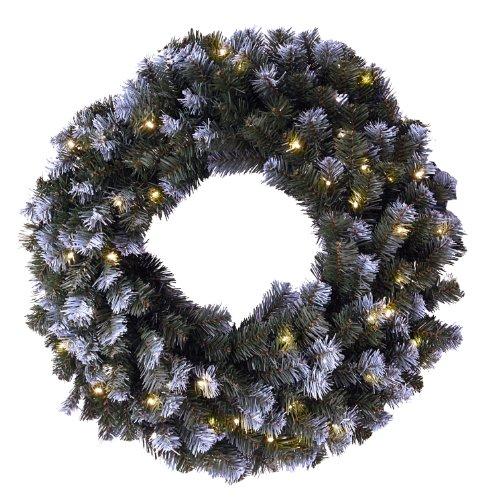 Best Season lyktis-Corona de pino con decoración de nieve, luces, diámetro de aproximadamente 70 cm, luz blanca cálida LED para exteriores 612-11