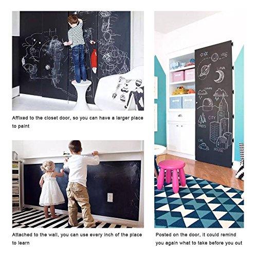 Tafelfolie Selbstklebend Weiß TTMOW 45 x 200 CM Whiteboard Folie für Schule Büro Haus Memotafeln Graffiti (mit 3 Geschenk Schwarz Whiteboard Stift) (Schwarz)