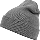 MSTRDS Unisex Strickmütze Basic Flap Beanie - einfarbige, neutrale Wintermütze für Damen und Herren ohne Druck und Stick, ohne Logo - Farbe darkgrey, Größe one size