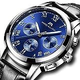 Herren Uhren Lederarmband Männer Chronograph Luxus Mode Wasserdicht Sport Datum Kalender Analog Quarz Uhr Geschäfts Beiläufig Kleid Armbanduhr mit Römische Ziffern Zifferblatt (Blau)