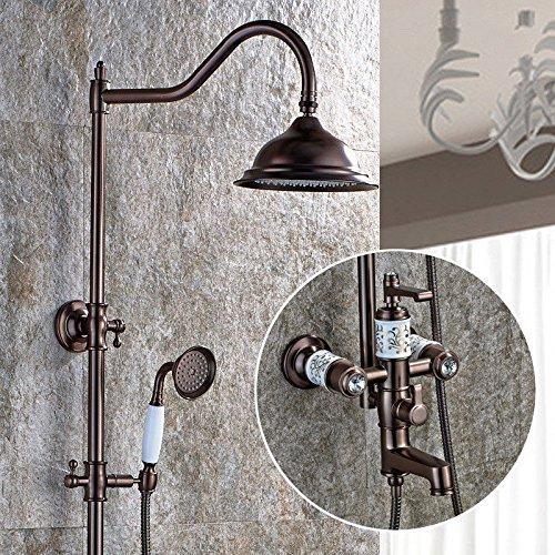 MMYNL Accesorios de Baño de Ducha termostática de Bañera y de Ducha Sistemas de Elevación de Bronce Antiguo Negro Rústica Ducha Cascada grifos
