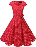 Dresstells Vintage 50er Swing Party kleider Cap Sleeves Rockabilly Retro Hepburn Cocktailkleider Red Small White Dot 3XL