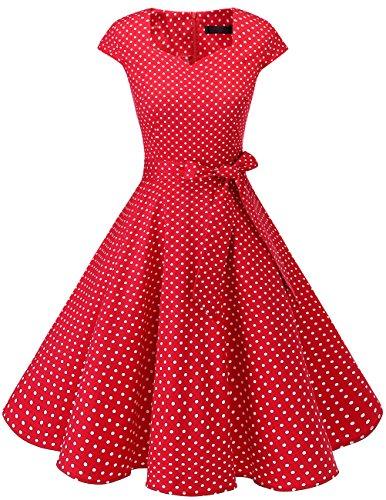 DRESSTELLS Version 6.0 Vintage 1950's Robe de soirée Cocktail rétro Style années 50 Manches Courtes, Red Small White Dot M