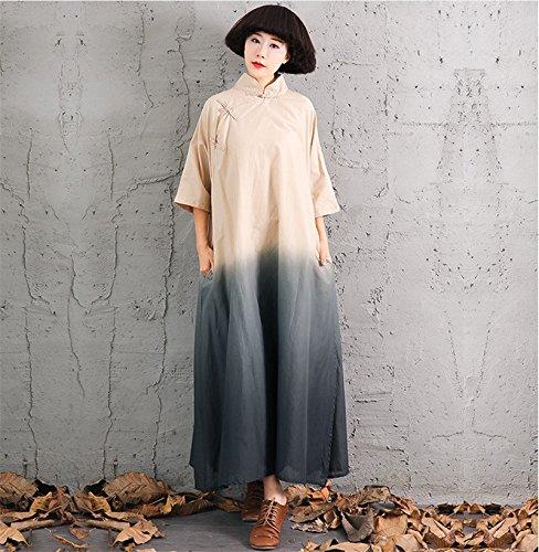 GAOXU die Vier ursprünglichen Baumwolle Kleid Vintage - dip dye verbessert Cheongsam Kleid Kleid chinesischen Wind,schwarz,f -