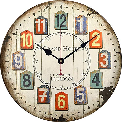 ll Clock for Living Room & Home & Office Battery Operated,Wooden Vintage Wall Clock, D ()
