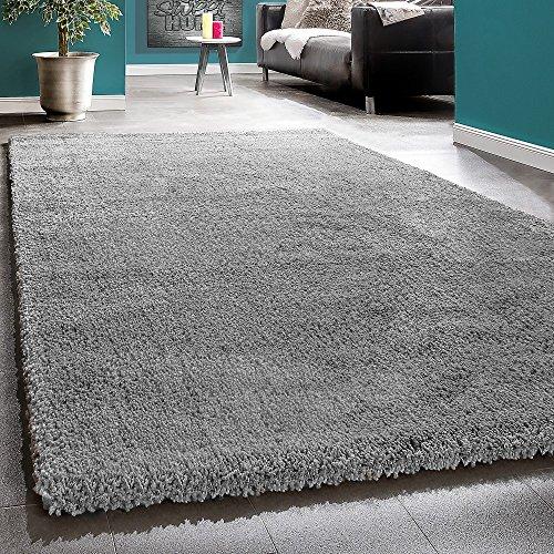 Super Shaggy High-Pile Rio XXL rug Plain Grey, Size:65x250 cm