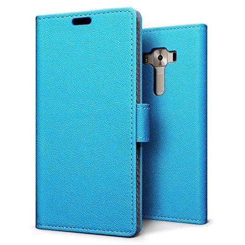 SLEO ASUS ZenFone 3 Deluxe (ZS550KL) Hülle, PU Leder Case Tasche Schutzhülle Flip Case Wallet im Bookstyle für ASUS ZenFone 3 Deluxe (ZS550KL) Cover - Blau