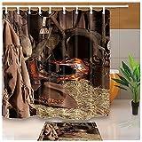 Westerngitarre–Duschvorhang Cowboy Hut und Stiefel für Reiten, 180x 180cm Schimmelresistenter Stoff-Duschvorhang, Set, Flanell, rutschfest, 60x 40cm, Läufer