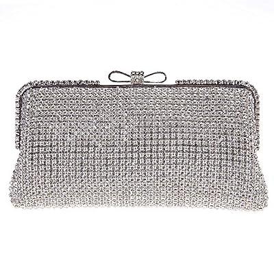 Bonjanvye Rhinestone Crystal Evening Clutch With Bow Handbags For Girls