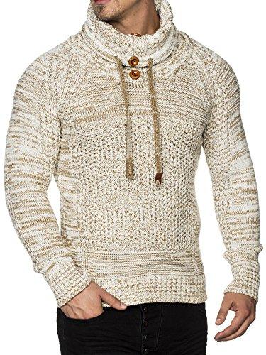 Tazzio Herren Styler Grobstrick-Pullover mit Schalkragen Melange Muster 16480 Ecru L