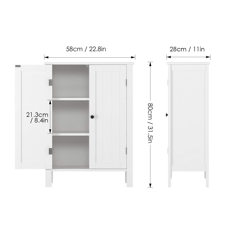 Homfa Armadio Mobiletto 3 Ripiani 2 Ante, Armadietto per Bagno Salotto  Contenitore Multiuso Bianco Legno 58 × 28 × 80 cm