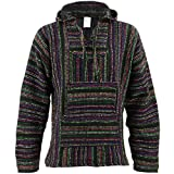Mexican Baja Jerga black and multi coloured hooded hippie top (M)