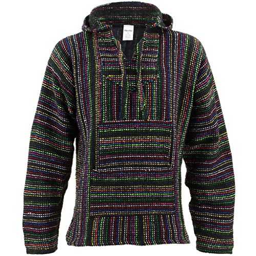 Mexican-Baja-Jerga-black-and-multi-coloured-hooded-hippie-top