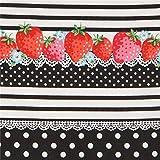 Schwarz und altweiß gestreifter Stoff mit Erdbeeren und