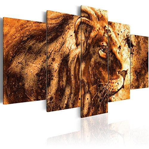 murando - Acrylglasbild Abstrakt 200x100 cm - 5 Teilig - Glasbilder - Wandbilder XXL - Wandbild - Bilder - Löwe Tier g-B-0026-k-p