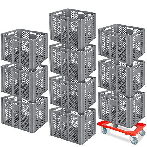 10 Stapelkörbe, Euro-Format LxBxH 600 x 400 x 410 mm, Industriequalität, lebensmittelecht, grau + GRATIS Transportroller