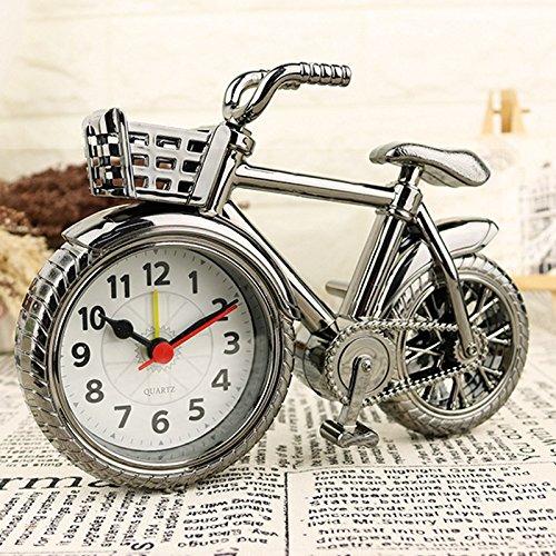 Shuangklei Wecker Vintage Fahrrad Mit Korb Quarz Tisch Dekoration Analogen Uhren