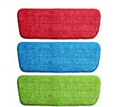 Techsun Replacement Reusable Microfiber Spray Mop Pad (Multicolour) -Pack of 3