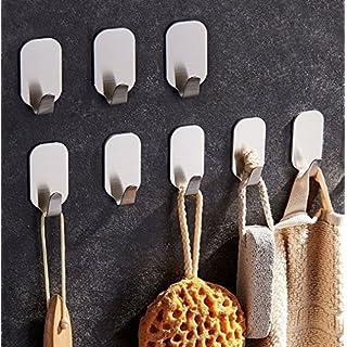 ZUNTO Crochets de 8pcs adhésif inox Porte Serviette crochets de mur 3M Autocollant pour cuisine salle de bains