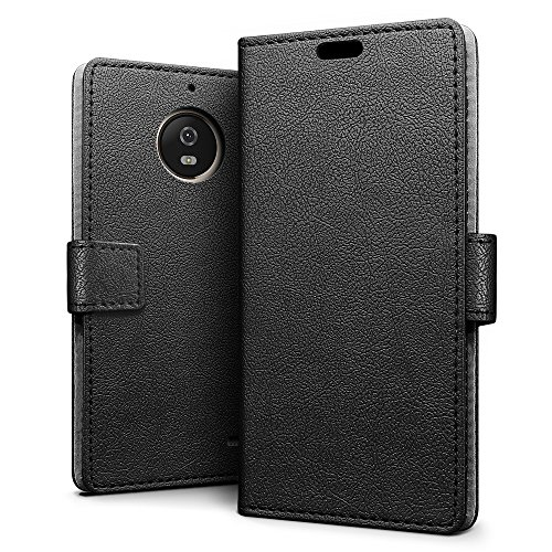 SLEO Motorola Moto E4 Plus Hülle – Premium Luxuriös PU lederhülle [Vollständigen Schutz] [Kreditkartenfach] Flip Brieftasche Schutzhülle im Bookstyle für Motorola Moto E4 Plus - Schwarz