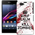 Sony Xperia Z1 Compact H�lle Hardcase (Harte R�ckseite) Case H�lle Cover - Keep Calm and Kill Zombies Muster Schutzh�lle f�r Sony Xperia Z1 Compact - Wei� und Rot
